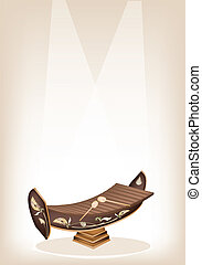 An Illustration of A Vintage Thai Alto Xylophone or Ranad on Brown Stage Background with Copy Space for Text Decorated