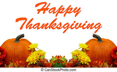 A Beautiful Thanksgiving decoration isolated on whitewith room for your text