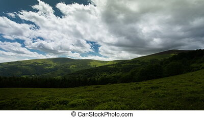 beautiful time lapse landscape summer in the Carpathian Mountains
