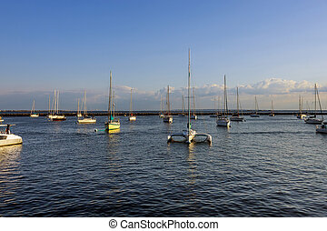 A beautiful view of a large marina full of boats in a large bay on a sunny day