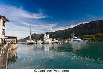Eden Island, Seychelles - A beautiful view of marina at Eden...