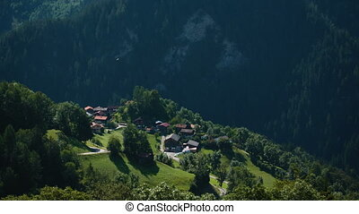 beautiful view of the alpine village in the Swiss Alps
