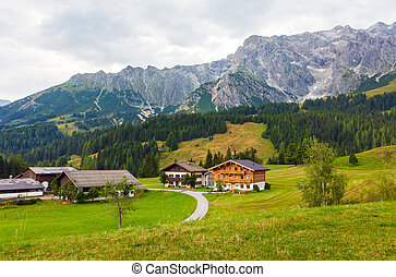 A beautiful view of the austrian alps with typical mountain hous