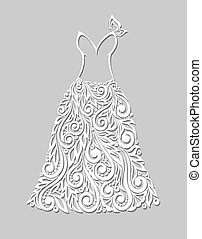 a beautiful white dress with floral elements, on a grey background
