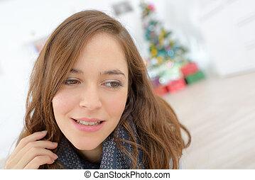 a beautiful woman at christmas