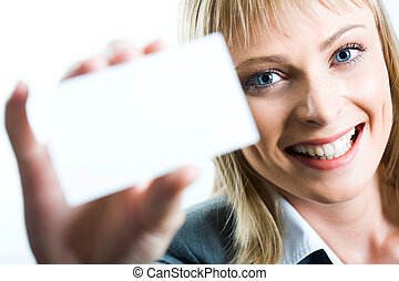 A beautiful woman holding a business card - Young beautiful ...