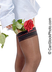 beautiful woman legs with red rose