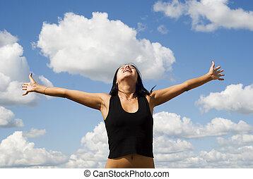 woman over sky