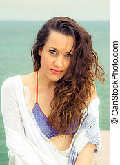 A beautiful woman portrait at the beach