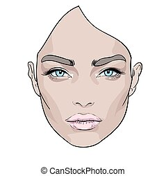 A beautiful woman s face. Creative. Fashion Portrait. Vector.