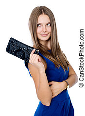 A beautiful woman with a black purse isolated on white...