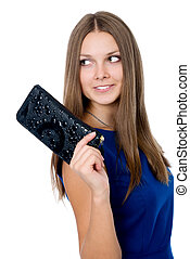 A beautiful woman with a black purse
