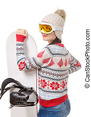 beautiful woman with a snowboard in studio