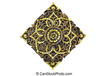 A beautiful wooden carving on white background