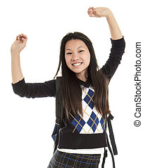 Young Asian student isolated on white background.
