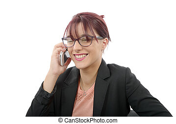 beautiful young business woman on phone