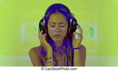 a beautiful young woman listening to music on headphones with cassette graphics overlayed