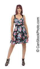 beautiful young woman with a floral dress
