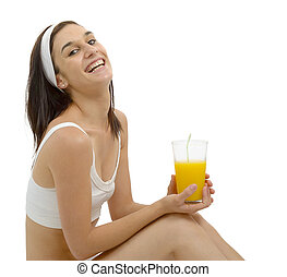 beautiful young woman with orange juice