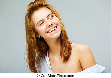a beauty girl in shirt  on white background