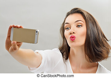 selfie - a beauty girl taking selfie