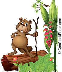 A beaver above a trunk - Illustration of a beaver above a...
