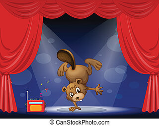 Illustration of a beaver at the stage