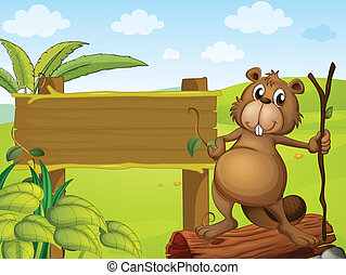 A beaver beside a sign board - Illustration of a beaver...