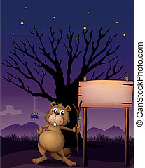 A beaver beside a wooden signboard - Illustration of a...