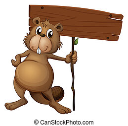 A beaver holding a sign board - Illustration of a beaver...