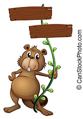 A beaver holding a vine plant with signboards - Illustration...