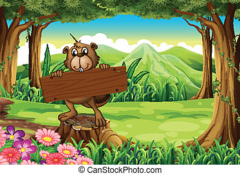 A beaver holding an empty signboard at the forest
