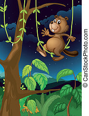 A beaver in the dark forest