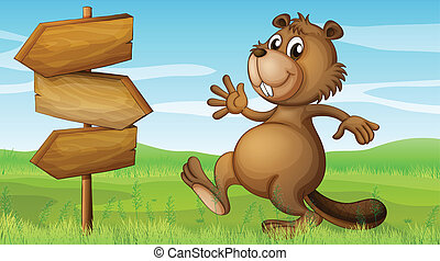 A beaver in the hills near the wooden signboard