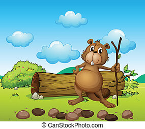 A beaver with a log