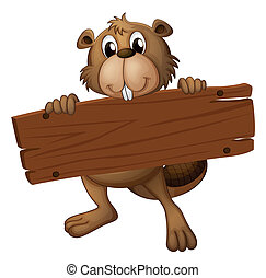 A beaver with a sign board - Illustration of a beaver with a...