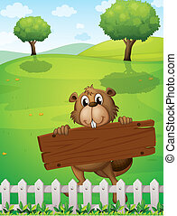 A beaver with an empty wooden board