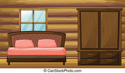A bed and a wardrobe - Illustration of a bed and a wardrobe...