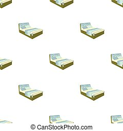 A bed with a back, pillows and a coverlet. Beds single icon in cartoon style vector symbol stock illustration web.