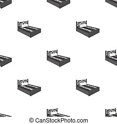 A bed with a back, pillows and a coverlet. Beds single icon in monochrome style vector symbol stock illustration web.