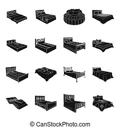 A bed with a back, round, curved and other kinds of the goods. Beds set collection icons in black style bitmap, raster symbol stock illustration web.