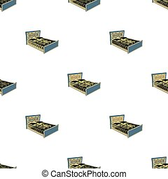A bed with backs, pillows and a coverlet. Beds single icon in cartoon style vector symbol stock illustration web.