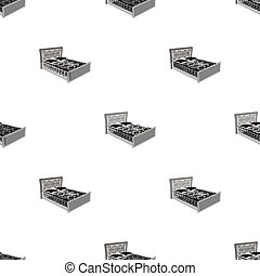 A bed with backs, pillows and a coverlet. Beds single icon in monochrome style vector symbol stock illustration web.