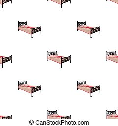 A bed with forged backs. Beds single icon in cartoon style vector symbol stock illustration web.