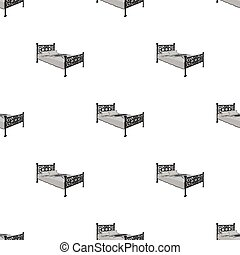 A bed with forged backs. Beds single icon in monochrome style vector symbol stock illustration web.