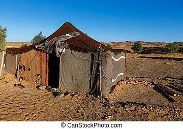 a, bedouins, barraca, em, a, sahara, marrocos