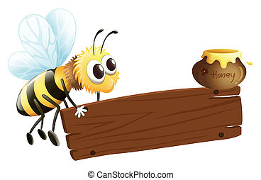 A bee and the empty signage - Illustration of a bee and the...