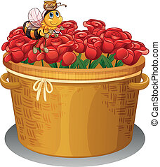 A bee at the basket full of red roses - Illustration of a...