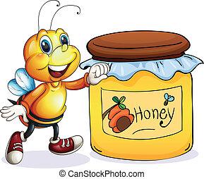 A bee beside the jar of honey