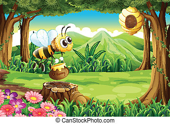 A bee carrying a pot of honey at the forest